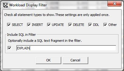 SQL WORKLOAD FILTER, search EXPLAIN